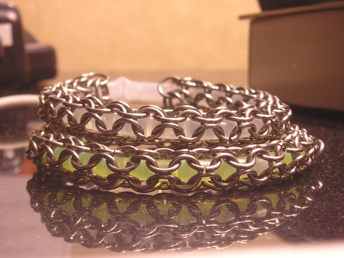 Glow in the dark chain mail bracelets
