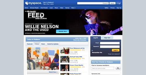 Willie Nelson featured on MySpace