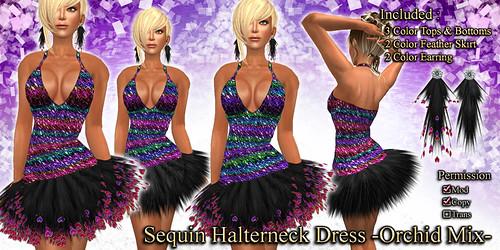 Sequin Halterneck Dress (Orchid)