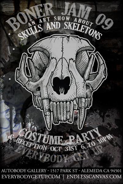 Boner Jams Skeleton and skull art show halloween.