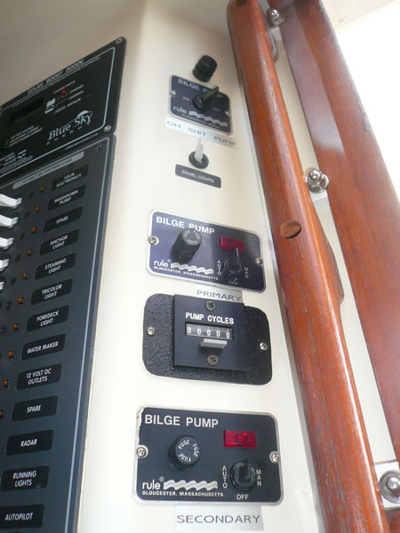 notice the bilge counter.  i've found that to be one of the handiest things on board.  especially if you have to leave the boat for extended times