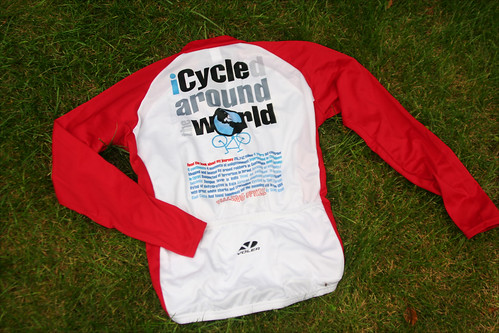 """iCycled around the world"" jersey."