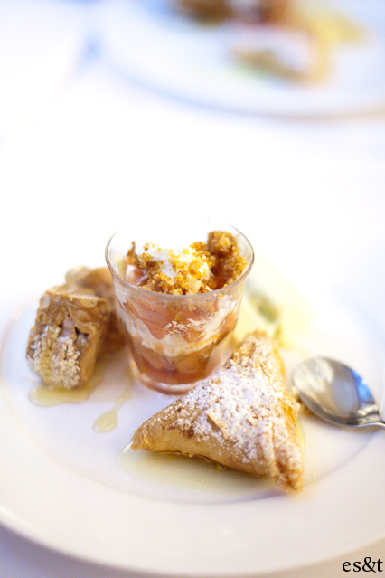 Front bottom : Passionfruit Bougatsa - A passionfruit flavour semolina crusted wrapped in crispy filo pastry  Middle : Quince Melamakarona Crumble - Layered spoon sweet quince with cinnamon creamed ricotta and crumbled honey, walnut and orange biscuits