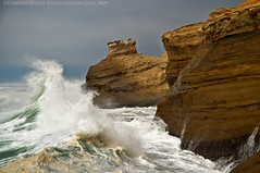 Wave Rush (Darren White Photography) Tags: ocean sky beach nature landscape nikon sandstone waves natural cliffs pacificocean coastal oregoncoast westcoast hightide pacificcity capekiwanda d300 traveloregon summer2009 vosplusbellesphotos oregontravelandtourism wwwdarrenwhitephotographycom wwwdarrenwhitephotographywordpresscom