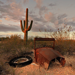 Incomplete Car Portrait in the Desert in HDR (eoscatchlight) Tags: arizona cactus sky abandoned clouds desert rusty ghosttown oldcar wickenburg incomplete saquaro vulturemine thebestofhdr