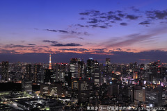Tokyo Sunset.../... (Ken.Lam) Tags: pink building tower st japan night tokyo twilight cityscape view illuminations tsukiji   lukes offices urbanscape shiodome dentsu       nonhdr kenlam