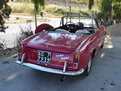 Classic 1962 Fiat 1500 (Vincent Anton / aka Astrovine) Tags: red italy classic fiat convertible chrome sicily 1500 portoempedocle realmonte