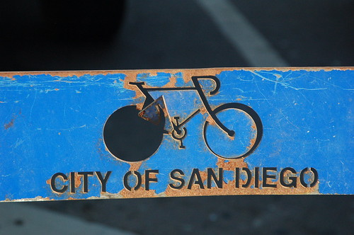 A rusted City of San Diego bike rack