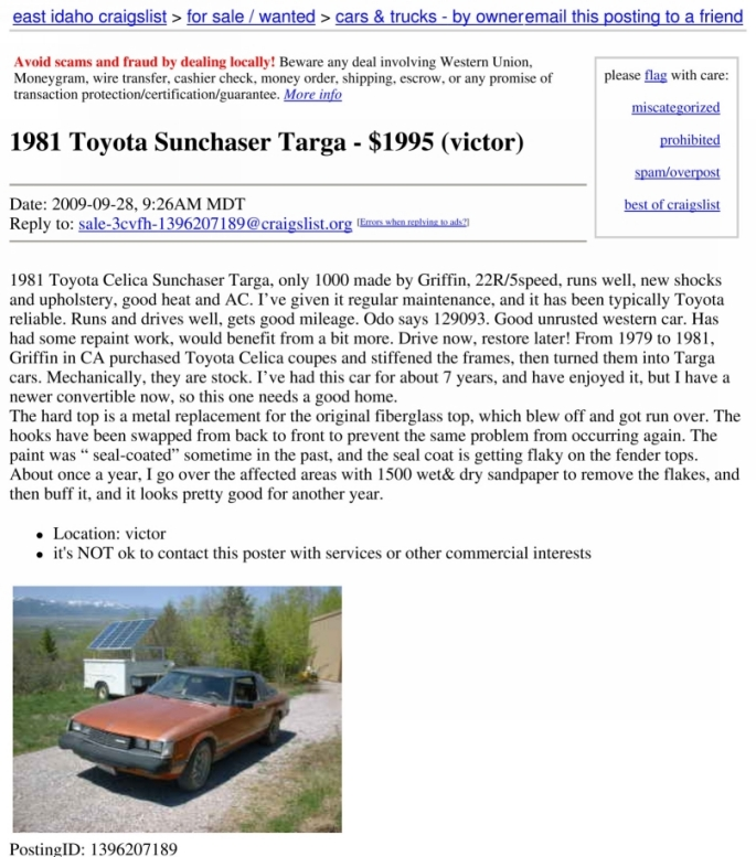 Dallas Craigslist Car: Coach Convertibles From 77-87 (Toyota,Datsun,Mazda,Honda