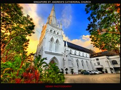 Singapore ST. ANDREW CATHEDRAL CHURCH (Kenny Teo (zoompict)) Tags: light sunset sky reflection tree tourism beautiful sunrise canon wonderful lens landscape photo scenery photographer view walk dramatic tourist best kenny 2009 hdr canoneos500d zoompict sigmawideangle1020mmlens singaporestandrewcathedralchurch standrewchurchcloud singaporelowerpiercereservoir