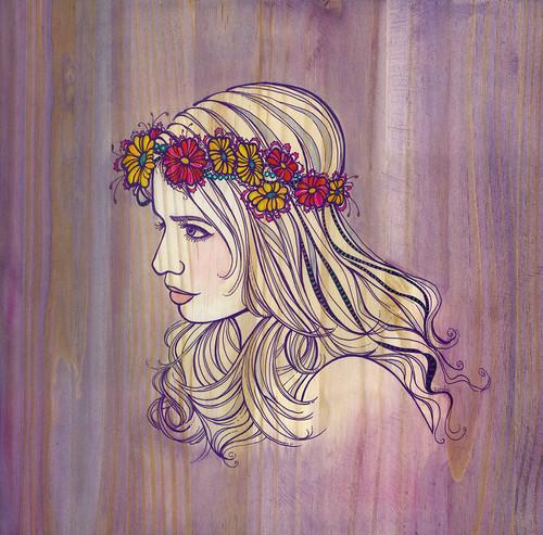 Violet WoodGrain- Flowers In Your Hair