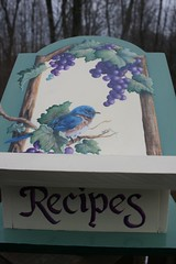 HAND PAINTED BLUEBIRD GRAPES RECIPE BOX (sherrylpaintz) Tags: wood bird art home floral leaves painting woodwork leaf colorful artist handmade decorative wildlife country decoration victorian birdhouse style american handpainted grapes romantic handcrafted recipes bluebird chic grapeleaves custom concord homedecor grapevine whimsical treasures acrylicpaint realism realistic recipebox shabbychic concordgrapes countryart purplegrapes decorativedesign shabbychicroses wildlifeartist bluebirdpainting handpaintedrecipebox shabbychicflowers sherrylpaintz shabbychicpainting realisticartist handpaintedbluebird