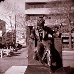 Edgar Allen Poe (Indie Photos) Tags: sculpture man 120 film face statue blackwhite maryland baltimore scan midtown negative diana belvedere dianaf poe edgarallenpoe edgarallanpoe views50