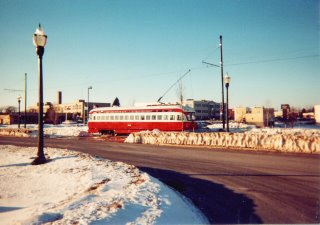 Kenosha Wisconsin electric streetcar. Kenosha Wisconsin. January 2001.
