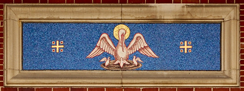 Blessed Sacrament Roman Catholic Church, in Belleville, Illinois, USA - mosaic over front door