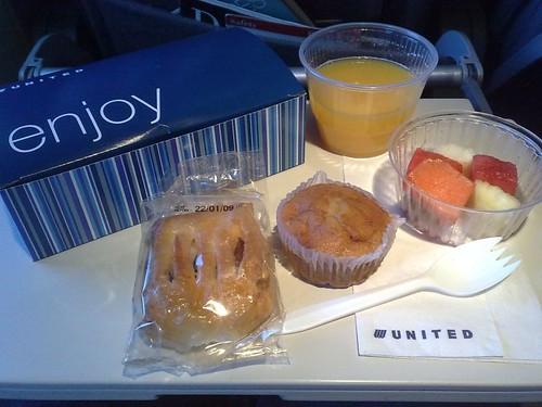 UA Economy Class Breakfast