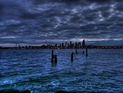 Puget Sound and Seattle from Alki Beach (joiseyshowaa) Tags: seattle washington alki beach alkibeach puget sound inlet harbor water night skyline city morning clouds pacific hdr land scape landscape cityscape joiseyshowaa joiseyshowa waterscape