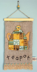 Linen Teapot Hanging (PatchworkPottery) Tags: art quilt tea handmade embroidery sewing crafts mini teapot patchwork zakka wallhanging