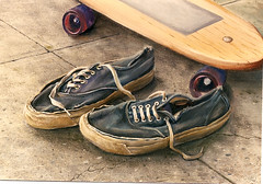 Trashed Sneakers (uwabakiboy) Tags: art painting artist sneakers skateboard realism trashed keds davidmitchell boatsneakers