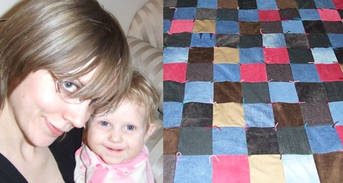 me and Evey and the tufted quilt