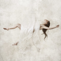 suspend (brookeshaden) Tags: white selfportrait art angel glow floating fallen sheet suspended hang highlight washout whiteroom nikond80