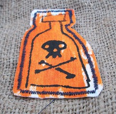 Toxic Bottle Patch (Orange Splatter) (Knottwood) Tags: toxic bottle handmade fabric pirate silkscreen etsy patch poison printed