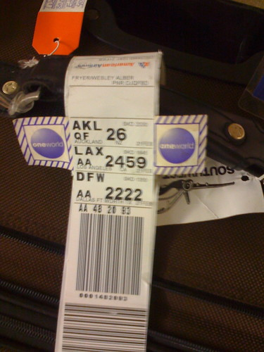 Luggage tag from OKC to AKL