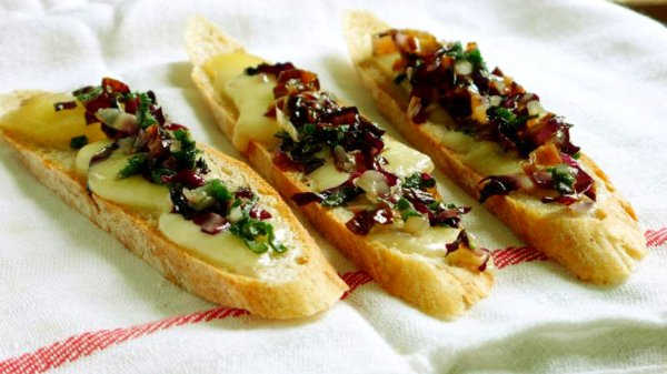radicchio, sage, and taleggio crostini