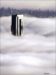 Shangri-La In The Fog (Clayton Perry Photoworks) Tags: city canada building strange weather fog vancouver clouds hotel bc structure shangrila westcoast claytonperry