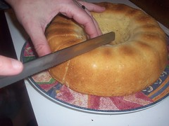 Slicing the gf sweet bread loaf