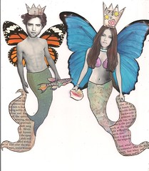 Mer-Couple...Edward & Bella (angellea (glitterbug)) Tags: art collage altered twilight edward bella mermaid paperdoll merman