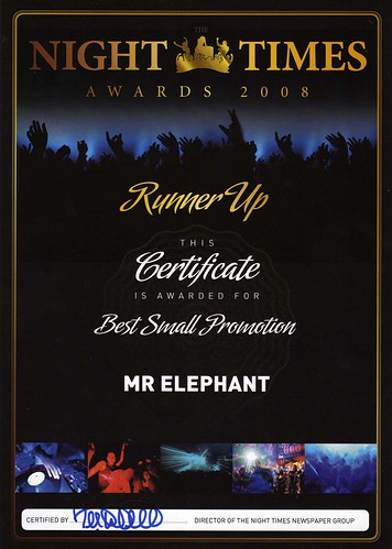 Night Times Awards Event Certificate