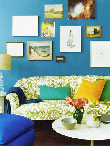 Playful color: Modern 'Bali' print + bold pillows, from Domino magazine