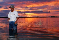 Solitary Fisherman (Joel Carillet) Tags: travel sunset sea fishing fisherman costarica centralamerica uvita lpsky