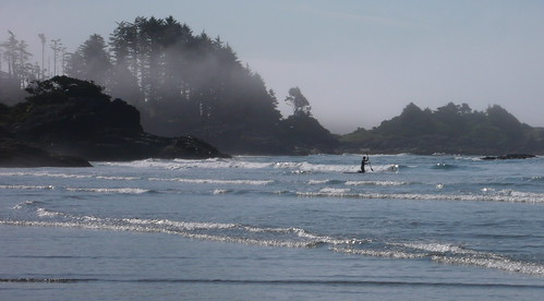 paddling and surfing