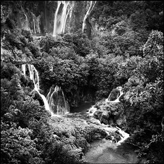 Travertine (sixbysixtasy) Tags: bw 6x6 film nature water square landscape waterfall fuji lakes hasselblad mf analogue travertine planar acros plitvice plitvicka hasselblad500cm jezera