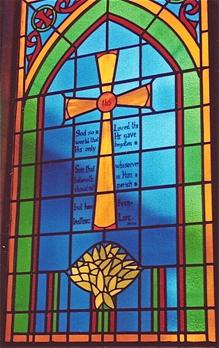 Church Window Cross And Bible Verse Stained Glass