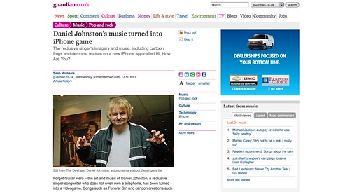 Daniel Johnston's music turned into iPhone game | Music | guardian.co.uk_1254588879875