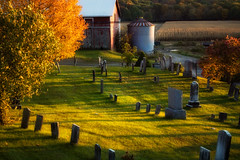 Cemetery, Silo and Fall Foliage (tim heffernan) Tags: cemetery farm autumnleaves silo fallfoliage foliage berkshires tombstones nystate oldcemetary
