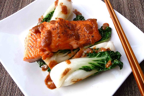 Seared Salmon & Baby Bok Choy with Miso Sauce Recipe
