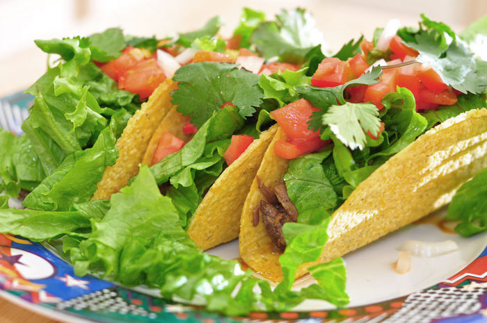tacos plated, with top round marinated with Asian flavors