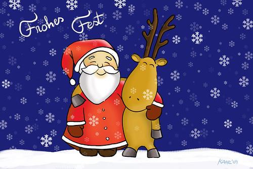 Der Weihnachtsmann und sein Freund, der Elch, wünschen Fröhliche Weihnachten