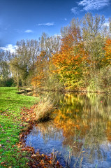 Zomerse herfst / summer autumn (Bas Lammers) Tags: blue autumn sky orange reflection tree green water netherlands leaves yellow clouds forest canon eos mirror groen blauw angle spiegel hill herfst wide nederland wolken boom sillouette lucht bos geel 1022mm hdr oranje heuvel reflectie bladeren rainbowcolors groothoek 50d mygearandmepremium mygearandmebronze