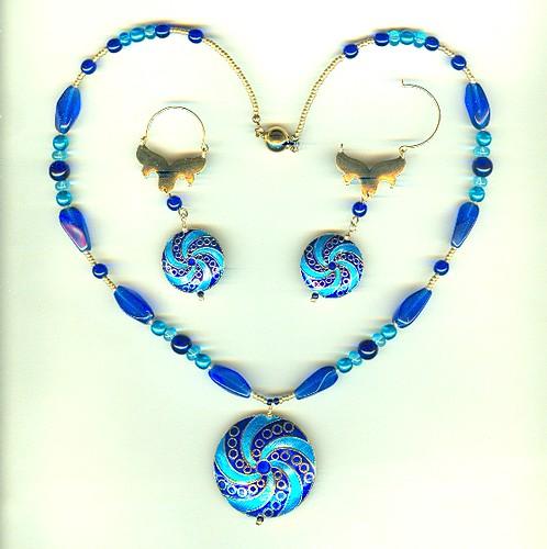 Fashion Jewelry Set: Cobalt and Aqua Cloisonne Pendants