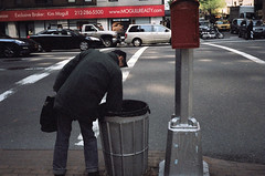 New York 2011 (Rtger) Tags: street new york trip food trash can analogue trashcan 35 searching homeles olympuys