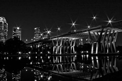 when the twilight lets the curtain down (yyelsel_ann) Tags: bridge blackandwhite bw reflection singapore nightshot tripod hike oldphoto benjaminshearesbridge manfrottotripod tanjongrhu photowalkwthpinoygraphers josbridge conervtedtobw