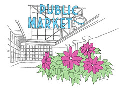 Public Market in Seattle (Tim Hong) Tags: seattle illustration pikeplacemarket publicmarket
