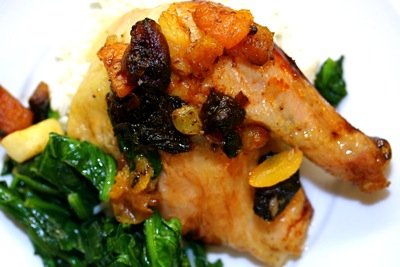 roasted chicken stuffed with dried fruits