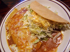 beef taco and cheese enchilada
