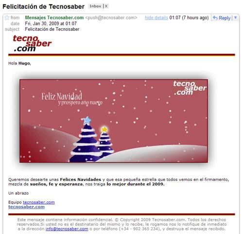 Felicitación de Navidad de la gente de Tecnosaber, enviada el 30 de enero